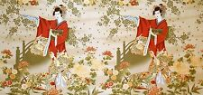 Fabric #2154 Large Geisha in Red on Beige, Sold by the Panel 23-3/4 Inches