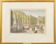 Jean Le Pautre (1618-1682) Gravure coloré Fontaines Italiens
