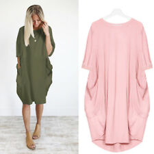New Plus Size Ladies Italian Lagenlook Quirky Long Boho Pocket Linen Tunic Dress