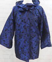 ST JOHN Brocade Evening Jacket Ruffle Collar Size 8 Black & Blue Overcoat Topper