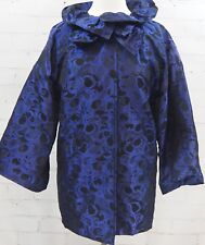ST JOHN Brocade Evening Jacket Ruffle Collar Size 8 Black & Blue Overcoat Topper