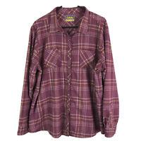 Cabelas Button Up Shirt Womens 2XL XXL Purple Plaid Polyester Nylon Long Sleeve