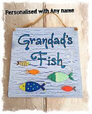 FISH POND SIGN Personalised With ANY NAME - Dad's Grandad's Plaque - Outdoor Use