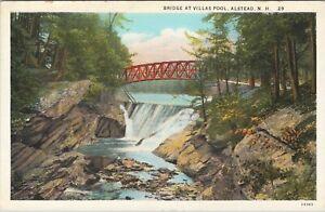WB postcard, foot bridge at Villas Pool, Alstead, New Hampshire