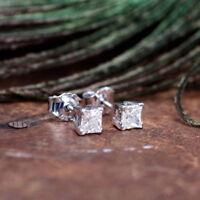 0.25ct Princess Cut Diamond Solitaire Stud Earrings 14k White Gold Finish
