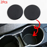 Auto  Black Water Cup Slot  Carbon Fiber Look  Car Non-Slip Mat  Pad
