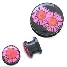 "PAIR-Dried Flower Purple Acrylic Screw On Plugs 12mm/1/2"" Gauge Body Jewelry"