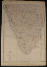 India Madras c.1863 large old vintage detailed Weller map