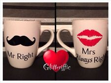 Mr Right Mrs Always Right Diy Vinyl Decal Stickers Wine Glass Mugs Wedding Gift