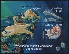NIUAFO'OU, SCOTT # 245-247 (247A), SOUVENIR SHEET OF CEPHALOPODS, OCTOPUS, FISH