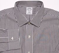 BROOKS BROTHERS Dress Shirt NON IRON Black Striped 16.5 32 Slim Fit ~ New