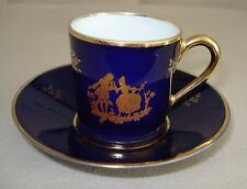 VTG LIMOGES FRANCE COBALT BLUE CUP AND SAUCER COURTING COUPLE AND GOLD MINT