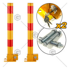 2X Red BOLLARD Fold Down Car Parking Lock Safety Barrier Vehicle Security AU