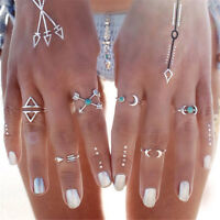 Vintage Women 6 Pcs Turquoise Arrow Moon Statement Midi Rings Set Jewelry Gift