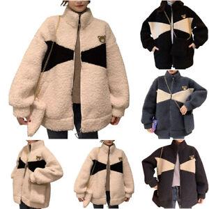 Women High Neck Teddy Bear Fleece Lambswool Coat Jacket Winter Warm Outwear Tops