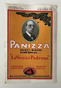 LISTINO MENSILE NOVITA' LA VOCE DEL PADRONE N. 4 15 SETTEMBRE 1928 PANIZZA