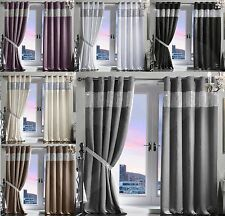 Pair Luxury Heavy Velvet Style Diamante Diamond Blackout Thermal Eyelet Curtains