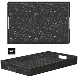 ZAK designs XL Tablett Mono Grau Matt Melamiert Reiskleie 48x31 Gartentablett