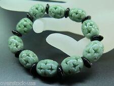 Good Luck 100% Natural A Grade Oil-Green 15mm Carved Oval Beads Bracelet