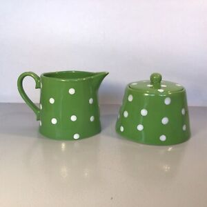 Creamer & Sugar Set Green & White Polka Dot Ceramic