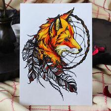 1 Blatt Gelb Fox Feder Elegante Tattoo Temporary Arm Körperkunst Aufkleber