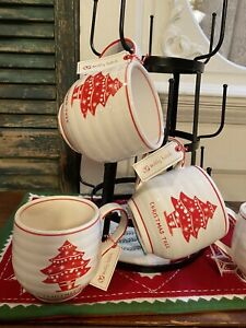 VINTAGE STYLE SET 4 CHRISTMAS TREE MUGS ANTHROPOLOGIE MOLLY HATCH CREAMY WHITE