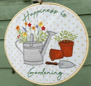 Embroidered Happiness Is Gardening Hanging Hoop Mothers Day Easter Birthday Gift