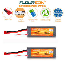 2X 7.4V 5200mAh 2S 30C Lipo Battery Deans for RC Airplane Helicopter Car Truggy