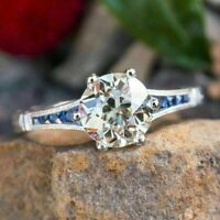 Vintage Art Deco Engagement Ring 2Ct White Round Cut Diamond 14K White Gold Over