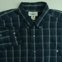 Gear For Sports Button Up Shirt Mens Large Blue Gray Long Sleeve Plaid Shirt