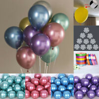 12'' Metallic Balloons & Ribbon Clips Wedding Birthday Party Supplies Decoration