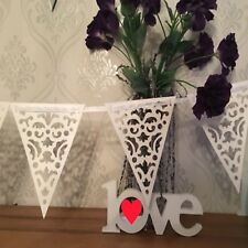 Lace Bunting 3.2m Paper white Ribbon Thread Banner Garlands Wedding Party Decor