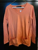 New York & Company Two-Pocket Tunic Sweater coral size X-Small