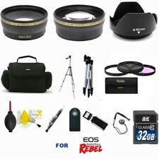 HD PRO 32GB KIT LENSES BAG FILTERS TRIPOD FOR CANON EOS Rebel T5 W18-55mm