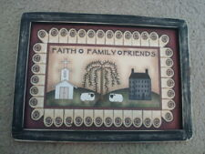 """Primitive Country Print *FAITH-FAMILY-FRIENDS* in black frame  11 3/4"""" x 8 1/2"""""""