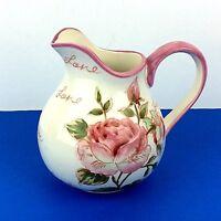 Love Amore Decorative Pink Rose Floral Ceramic Pitcher Vase Shabby Cottage