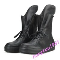 Mens Real Leather British Lace Up High Top Mid-calf Boots Sneakers Black Shoes