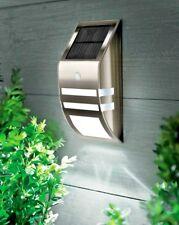 Motion Sensor Stainless Steel Wall Security Light Outdoor Solar Powered Garden