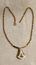 "Vintage Goldtone Metal White Enamel Chevron Tear Drop Pendant 15.5"" Necklace"