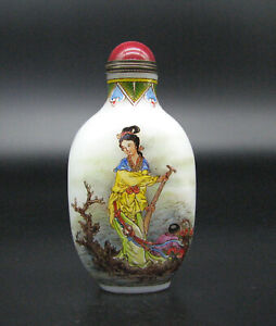 Chinese Glass Exquisite Hand Painted Fairies And Children Design Snuff Bottle--