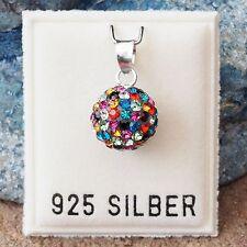 NEU 925 Silber ANHÄNGER 10mm KUGEL mit STRASSSTEINE Multicolor KETTENANHÄNGER