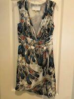 Leifsdottir Womens Printed Silk Sleeveless Dress White Multi Color Size 6