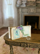 Vintage Miniature Dollhouse Artisan Made Old Book Diorama Butterfly Paperweight