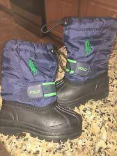 Toddler Child Boys Polo Ralph Lauren Navy Green Snow Boots Size 5 MINT