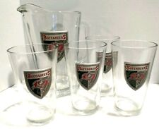 Tampa Bay Buccaneers Glass Beer Pitcher & 4 Beer Glasses Set w/ Pewter Logo Tags
