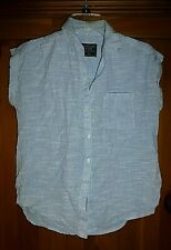 Abercrombie & Fitch Women Lite Blue Short Sleeve Button-Down Pocket Shirt XS