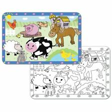 4 Kids Farm Reversible Washable Plastic Coloring Placemats
