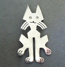 """Modernist Mexican Sterling Silver Kitty Cat Pin / Pendant - 2 3/8"""" Tall - 13.7g"""