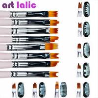 8Pcs Acrylic Nail Art  Brushes Gradient Shading UV Gel Painting Pen Kit Pro Tool