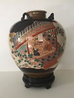 "Vintage Japanese Satsuma Hand Painted Vase, For Lamp Base, 13"" Tall x 11"" Wide"